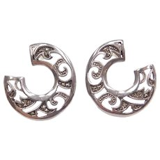 Sterling Silver Marcasite Circle Earrings