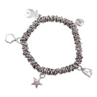 Sterling Silver Stretch Bracelet with Star, Tulip, Heart, Teddy Bear and Flower Charms