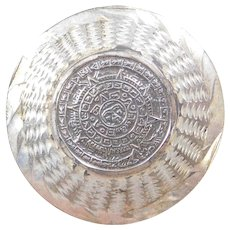 Sterling Silver Mayan Calender Pendant / Brooch