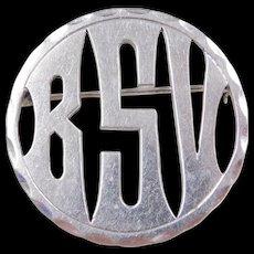 Sterling Silver BSV Monogram Pin / Brooch