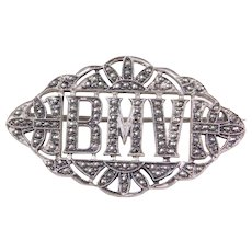 Sterling Silver Marcasite Monogram BMV Pin / Brooch