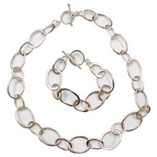 """Sterling Silver Oval Link Chain and Bracelet Set ~ 18"""", 7 5/8"""""""