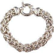 """Sterling Silver Wide Byzantine Bracelet ~ 7 1/2"""""""