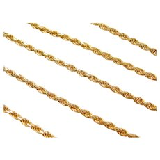 "19 3/4"" Gold Plated Sterling Silver Diamond Cut Rope Chain"