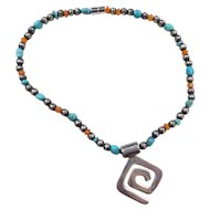 Sterling Silver Turquoise and Carnelian Bead Necklace ~ 15 1/2""