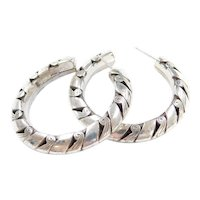 Vintage Sterling Silver Swirl Hoop Earrings