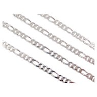 "Sterling Silver Figaro Link Chain ~ 16"" ~ 15.4 Grams"