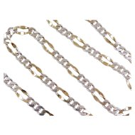 """Sterling Silver and Gold Vermeil Fancy Figaro Link Chain ~ 20"""" ~ 24.1 Grams"""