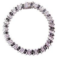 "Sterling Silver Black and White Faux Diamond Bracelet ~ 6 3/4"""