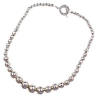 Sterling Silver Big Graduated Bead Necklace ~ 19""