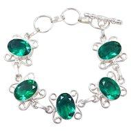 "Sterling Silver Green Glass Bracelet ~ 6 1/4"" - 7 1/2"""