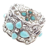 "Sterling Silver Ornate Turquoise Bracelet ~ 7"""