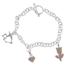 """Sterling Silver Charm Bracelet ~ 7 1/2"""" ~ Flower, Heart and Fish Charms"""