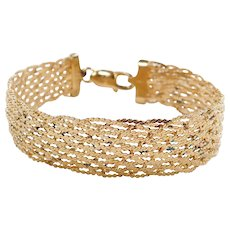 "Gold Vermeil Sterling Silver Wide Woven Serpentine Bracelet ~ 7 1/2"""