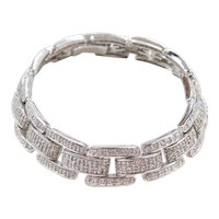 Sterling Silver Faux Diamond Link Bracelet  ~ 7 1/2""