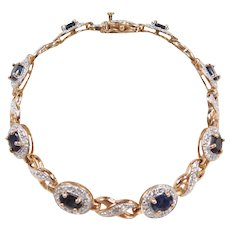 """Two-Tone Sapphire and Diamond Bracelet 7 1/4"""" ~ Sterling Silver Gold Vermeil"""