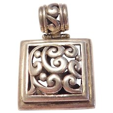 Square Ornate Sterling Silver Pendant