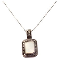 Sterling Silver Mother of Pearl and Marcasite Necklace