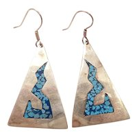 Mexico Sterling Silver Big Triangle Earrings with Turquoise Chip Inlay