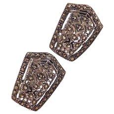 Sterling Silver Clip On Marcasite Earrings
