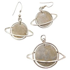 Sterling Silver Saturn Planet Earrings and Pendant Set