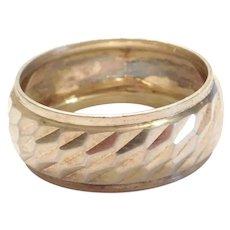 Sterling Silver Men's Diamond Cut Wedding Band Ring