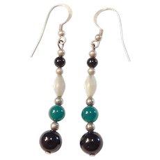 Sterling Silver Long Gemstone Bead Earrings