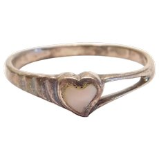 Sterling Silver Mother Of Pearl Heart Ring