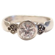 Sterling Silver Faux Diamond and Marcasite Ring