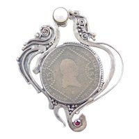 Sterling Silver Kreuzer Coin Pendant / Pin / Brooch ~ Cultured Pearl and Garnet Accents
