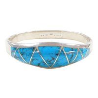 950 Silver Turquoise Bangle Bracelet ~ 7""