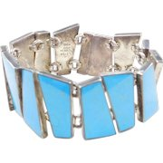 "950 Silver Wide Turquoise Bracelet ~ 7 1/2"""