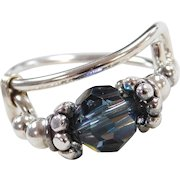 Sterling Silver Colorful Glass Bead Ring