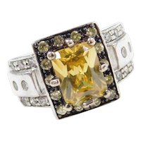 Sterling Silver Faux Yellow and White Diamond Ring