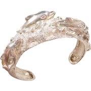 Sterling Silver Dolphin Cuff Bracelet