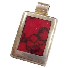 Sterling Silver Mexico Rectangle Red Jasper Pendant