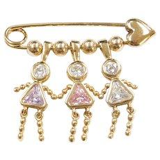Sterling Silver Gold Plated Birthstone Girl Pin / Brooch