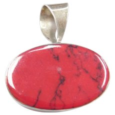 Sterling Silver Big Red Jasper Pendant