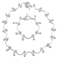 "Sterling Silver Necklace and Bracelet Set ~ 18"", 8"""