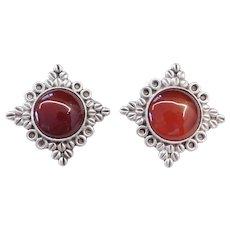 Sterling Silver Big Carnelian Clip On earrings
