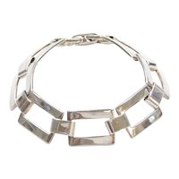 "7"" Sterling Silver Rectangle Link Bracelet"
