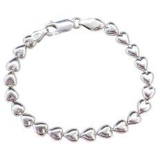 """Sterling Silver Heart Bracelet ~ 7"""""""