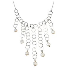 """Sterling Silver Cultured Pearl Necklace ~ 16"""""""
