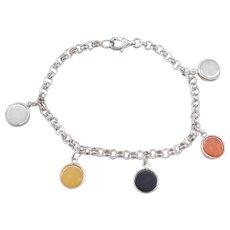 """Sterling Silver Multi Color Jade Kanji Bracelet ~ 7 1/2"""""""