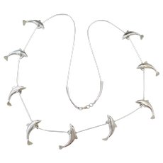 """Sterling Silver LONG Dolphin Necklace ~ 29"""""""