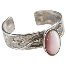 Sterling Silver Pink Cats Eye Toe Ring