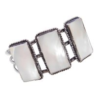 Sterling Silver Mother of Pearl Cuff Bracelet ~ Adjustable