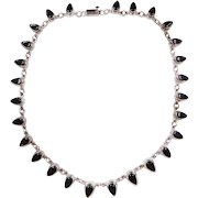 Sterling Silver Onyx Necklace ~ 17 1/2""