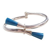Sterling Silver Blue Resin Hinged Bangle Bracelet ~7""