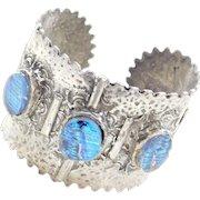 Sterling Silver Dichroic Art Glass Cuff Bracelet